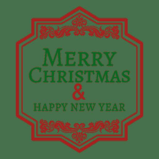 Merry christmas rectangular label Transparent PNG