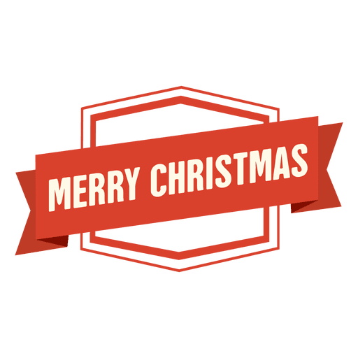 Merry christmas ribbon badge - Transparent PNG & SVG vector