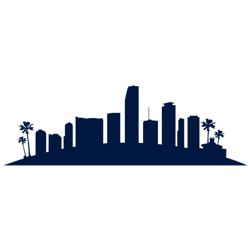 Miami skyline silhouette in blue Transparent PNG