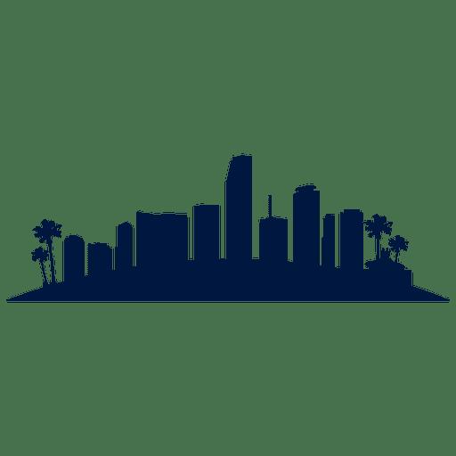 Miami skyline silhouette in blue