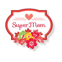 Mothers day badge with flowers