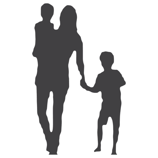 Mothers day silhouette with kids Transparent PNG