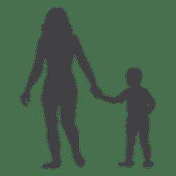Silueta del día de la madre con el niño en la mano.