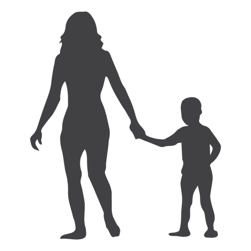 Mothers day silhouette with child in hand Transparent PNG