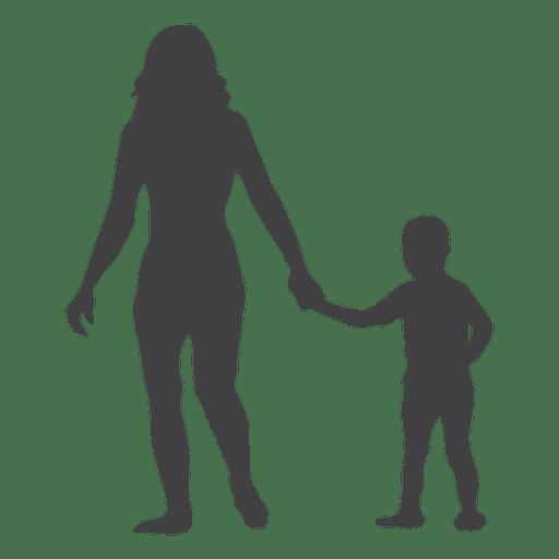 Silueta del día de la madre con el niño en la mano. Transparent PNG