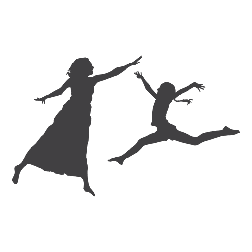 Two women jumping silhouette Transparent PNG