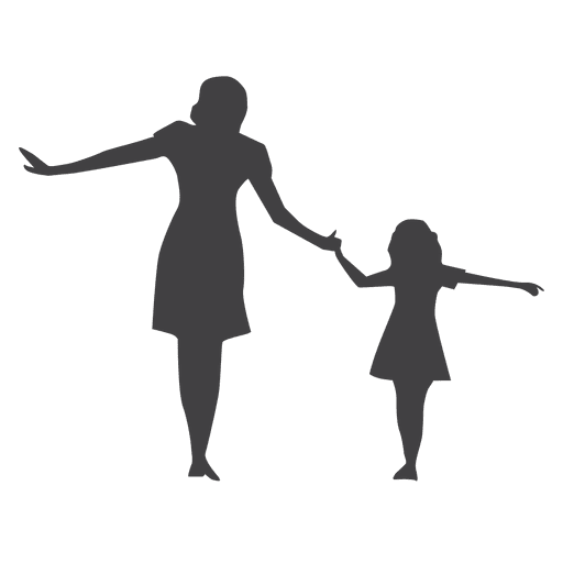 Mother and kid walking silhouette Transparent PNG