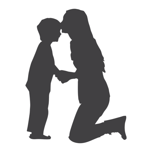 Mothers kissing son on forehead  silhouette Transparent PNG