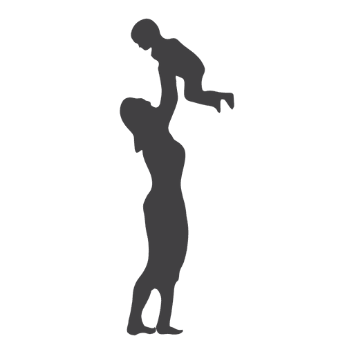 Mothers playing with toddler silhouette Transparent PNG