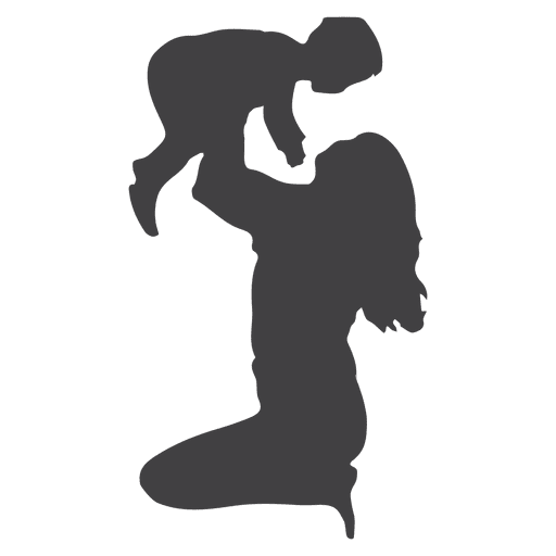 Mother lifting child silhouette Transparent PNG