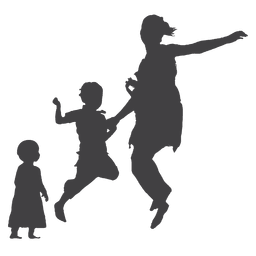 Mother jumping with kid and toddler silhouette