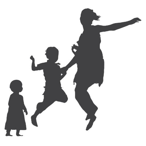 Mother jumping with kid and toddler silhouette Transparent PNG
