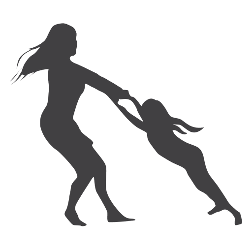 Mothers day silhouette woman playing with kid Transparent PNG