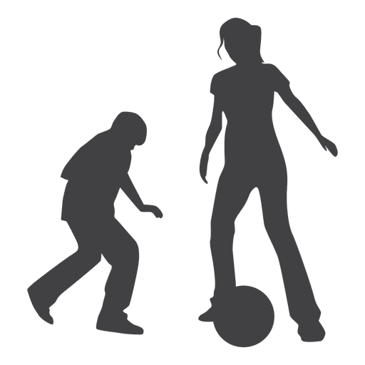 Kids playing with ball silhouette Transparent PNG