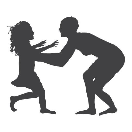 Mothers day silhouette of mom playing with kid Transparent PNG