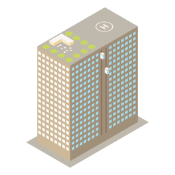 Icono de edificio isométrico multistoried