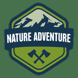 Emblema sextavado aventura natureza