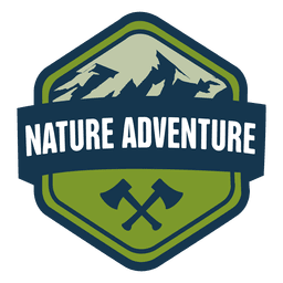 Nature adventure hexagonal badge