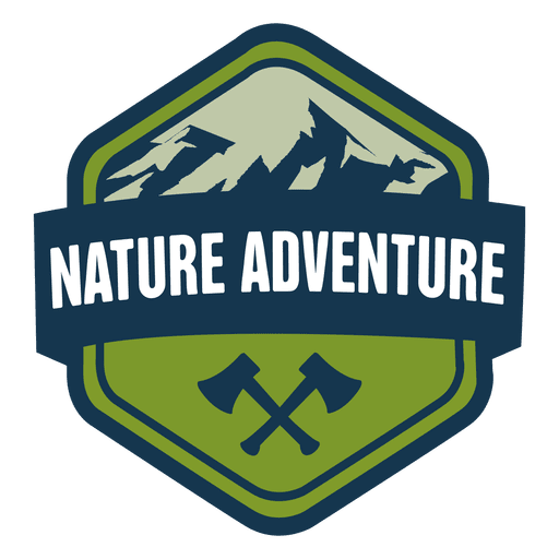 Nature adventure hexagonal badge Transparent PNG