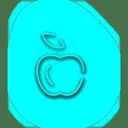 Neonblauer Apfel-Symbol