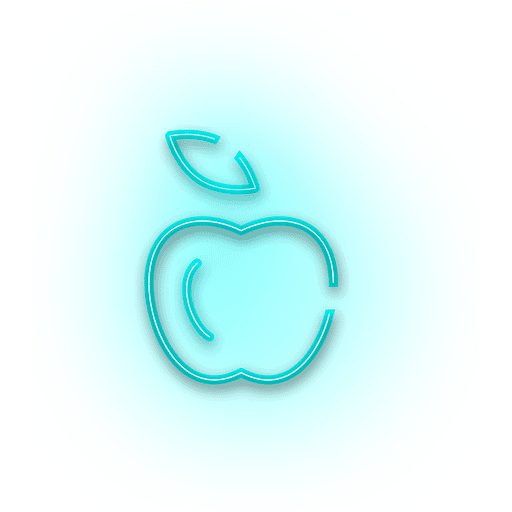Neon blue apple icon Transparent PNG