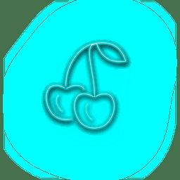 Icono alegre azul neón
