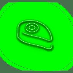 Ícone de bolo verde néon