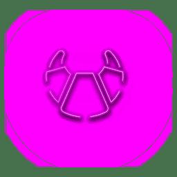 Ícone de croissant rosa néon