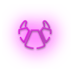 Neon pink croissant icon