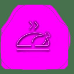 Icono de pavo púrpura de neón
