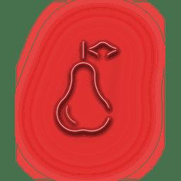 Ícone de goiaba vermelha de néon