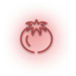 Neon red onion icon