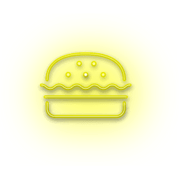Icono de hamburguesa amarilla de neón