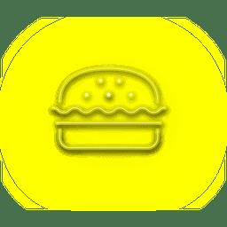 Neón del icono del hamburguesa amarilla
