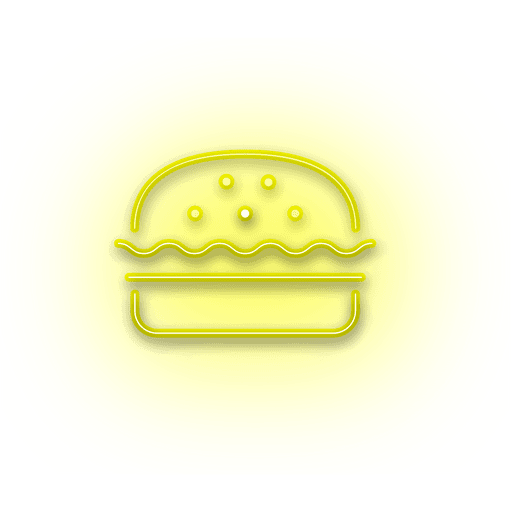 Neon yellow burger icon Transparent PNG