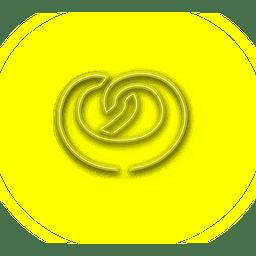 Ícone de donut amarelo néon