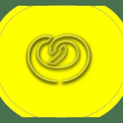 Icono de donut amarillo ne?n