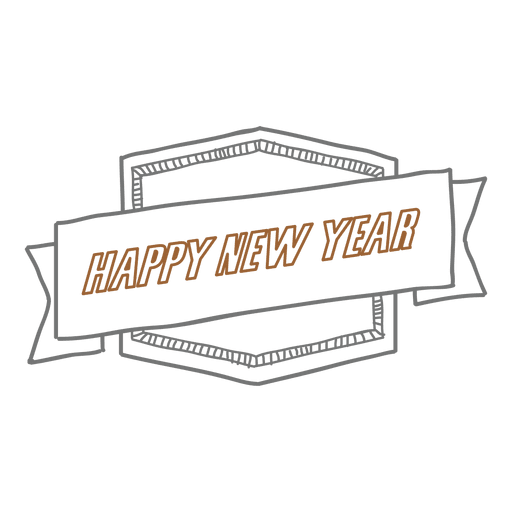 New year hand drawn badge Transparent PNG