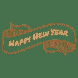 Ano novo mão desenhada fita