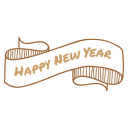 New year hand drawn ribbon