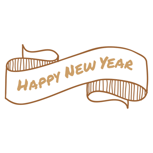 New year hand drawn ribbon Transparent PNG