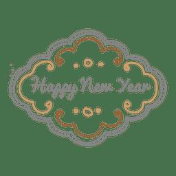 Doodle ornamentado de ano novo