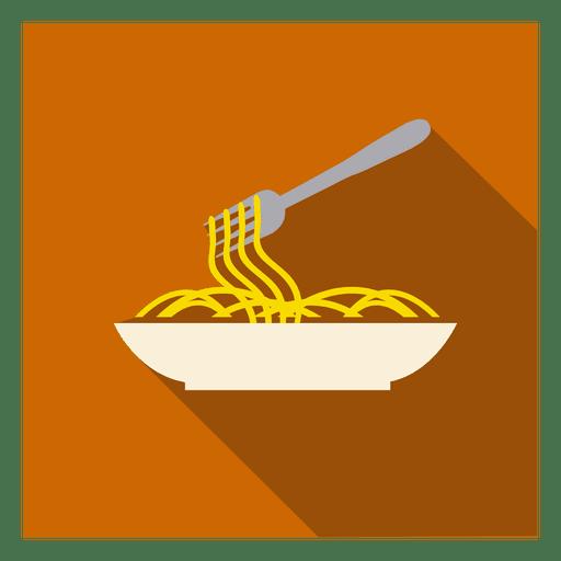 Noodles plate square icon