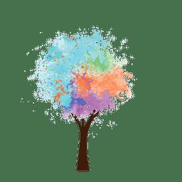 Pintura al óleo árbol colorido