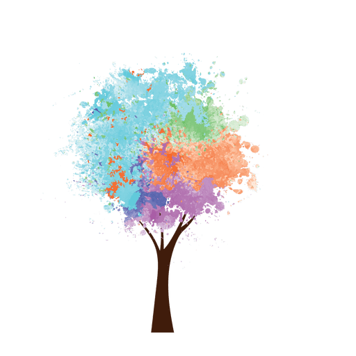 Oil paint colorful tree