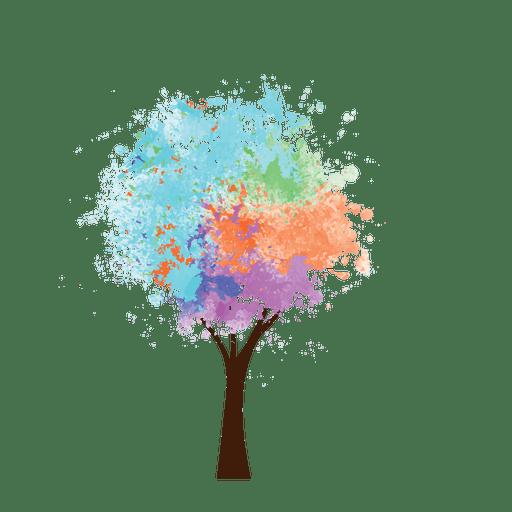 Pintura al óleo árbol de colores Transparent PNG