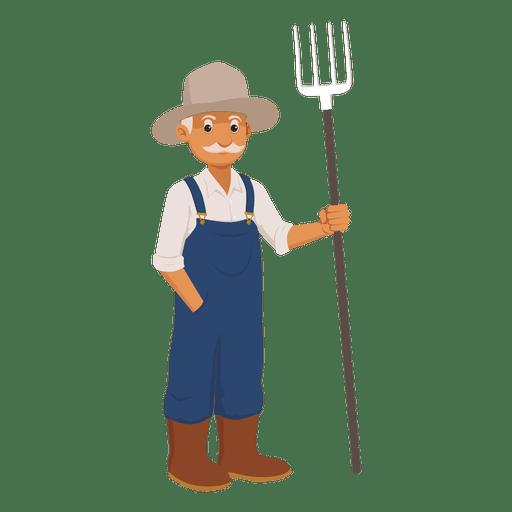 Dibujos animados del granjero de edad