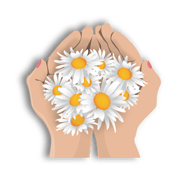 Flores de la mano abierta