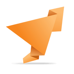 Orange folded origami banner