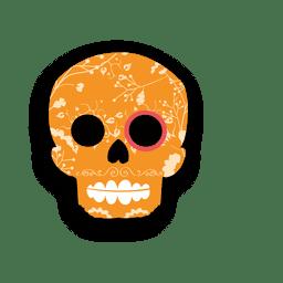 Crânio floral de açúcar laranja